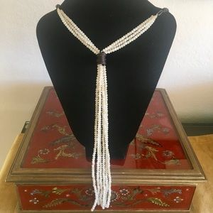 Jewelry - Crystal Bead Y-Necklace on Leather Cord in Eru